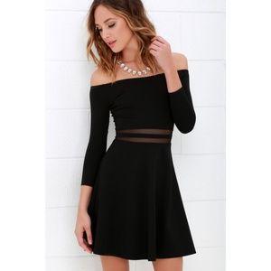 Lulu's Yes To The Mesh Black Skater Dress